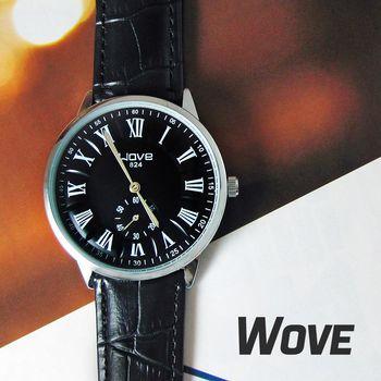 Wove小秒針羅馬數字刻度皮錶