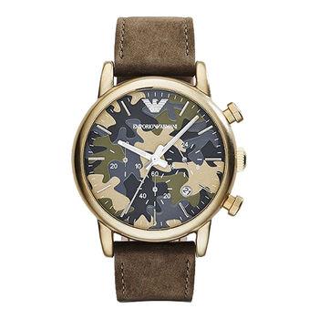 ARMANI Classic 軍迷彩式風格計時腕錶-金框x咖啡/41mm AR1818