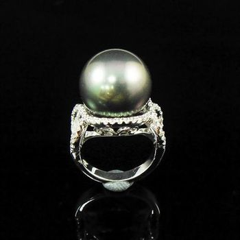 【蕾帝兒珠寶】永恆黑色深海貝殼珍珠戒指