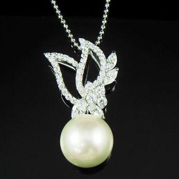 蕾帝兒珠寶 絕配白色貝珠墜鍊
