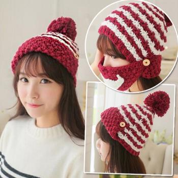 【Conalife】韓版秋冬季兩用針織帽保暖口罩