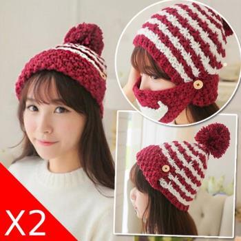 【Conalife】韓版秋冬季兩用針織帽保暖口罩 (2入)