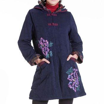蘭陵保暖禦寒顯瘦緹花舖棉長大衣