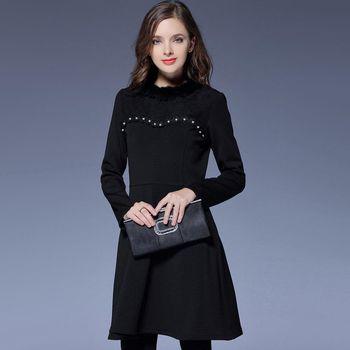 【KVOLL中大尺碼】毛領釘珠時尚蕾絲洋裝