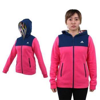 【ADIDAS】女連帽外套-保暖 刷毛 慢跑 路跑 訓練 深藍桃紅