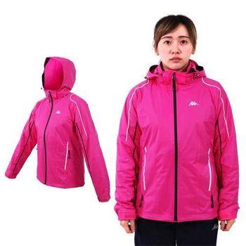 【KAPPA】女雙層風衣外套-保暖 刷毛 防風 立領 連帽 桃紅