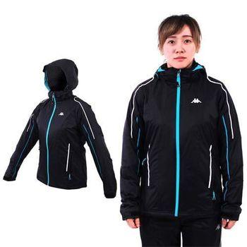 【KAPPA】女雙層風衣外套-保暖 刷毛 防風 立領 連帽 黑湖水藍