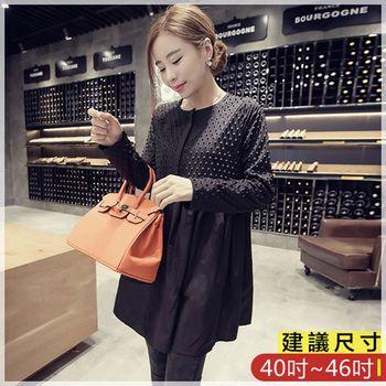WOMA-X750韓版寬鬆圓領長袖上衣(黑色)WOMA中大尺碼上衣X750