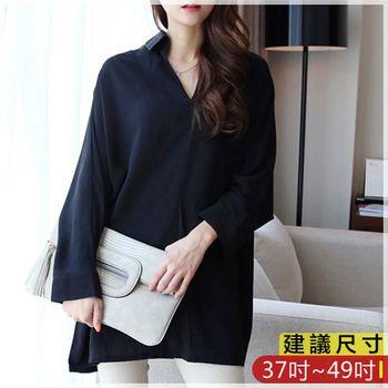 WOMA-W4591韓版V領時尚長袖上衣(黑)WOMA中大尺碼上衣W4591