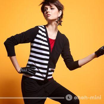 【ohoh-mini孕婦裝】幾何拼接條紋外套式長版哺乳上衣