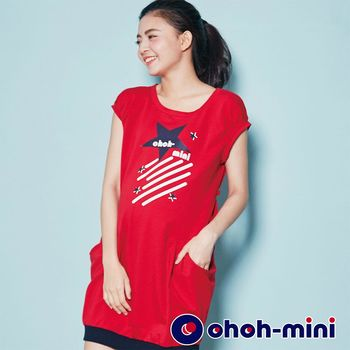ohoh-mini孕婦裝 巨星印花休閒孕婦洋裝