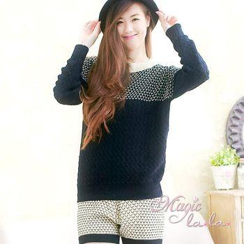 【魔法拉拉】波浪花紋毛衣短褲套裝A421(COCO黑)