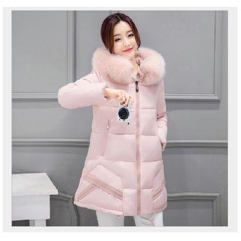 (現貨+預購 RN-girls)-韓版秋冬裝新品加厚純色大毛領保暖羽絨棉修身外套
