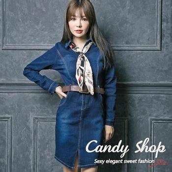 Candy 小鋪     氣質修身OL牛仔彈性連身洋裝(附贈絲巾皮帶)-0097906