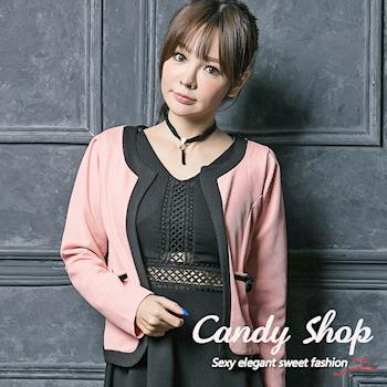 Candy 小鋪     配色V領開襟口袋蝴蝶結外套-0097895