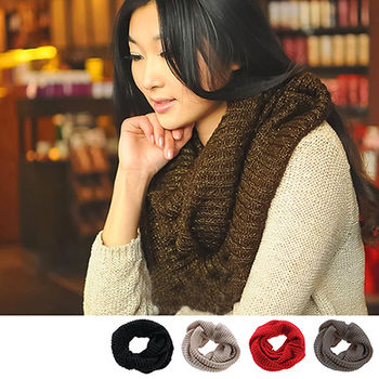 121任選【Olivia】秋冬百搭情侶款素面金絲加厚毛線圍脖(4色)