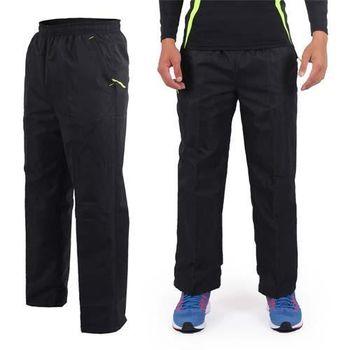 【SOFO】男運動長褲-網布-慢跑 路跑 訓練 黑螢光綠