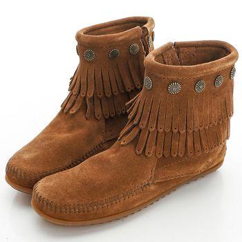 MINNETONKA 咖色純手工鉚釘二層流蘇短靴-693