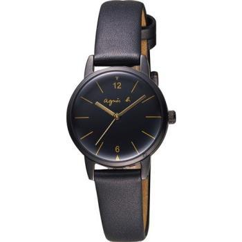 agnes b. 法式優雅時尚女仕套錶組-黑/26mm VJ21-KG40C BH8035X1
