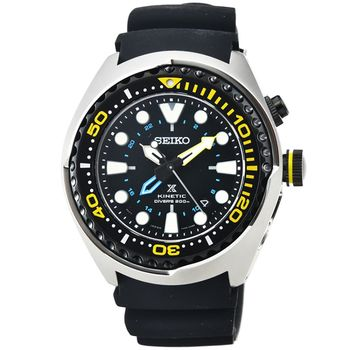 SEIKO精工PROSPEX GMT雙時區人動電能膠帶腕錶 / SUN021P1 (鮪魚罐頭)