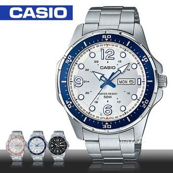【CASIO 卡西歐】時尚精選_不鏽鋼錶帶_折疊式錶扣_防水_日期顯示_男錶(MTD-100D)