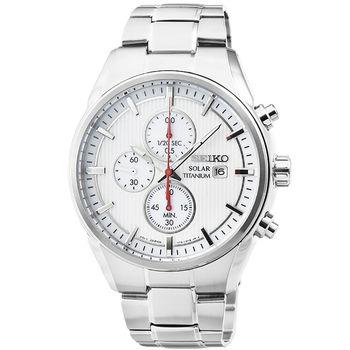 SEIKO精工光動能鈦金屬三眼計時錶-白 / SSC363P1