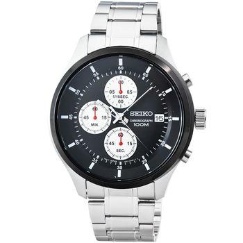 SEIKO精工三眼計時賽車錶-黑框 / SKS545P1