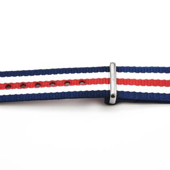 DW Daniel Wellington 瑞典原廠帆布錶帶-藍白紅帆布帶 18mm / 0806DW