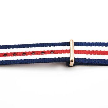 DW Daniel Wellington 瑞典原廠帆布錶帶-藍白紅帆布帶 20mm / 0302DW