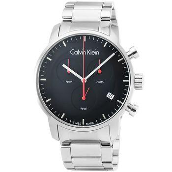 CK Calvin Klein City 凱文克萊三眼計時鋼帶錶-黑 / K2G27141
