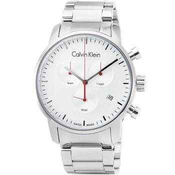 CCK Calvin Klein City 凱文克萊三眼計時鋼帶錶-銀 / K2G271Z6