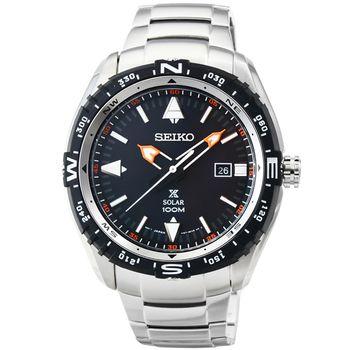 SEIKO 精工光動能鋼帶潛水鋼帶錶-黑 / SNE421P1