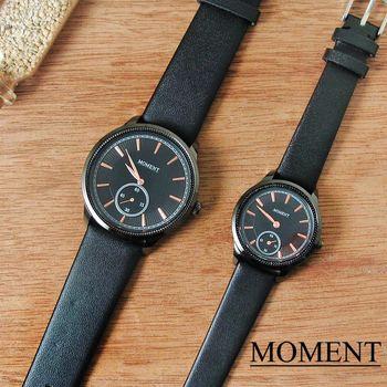 MOMENT時尚小秒針情侶皮革對錶