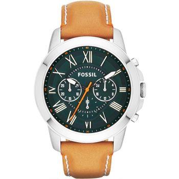 FOSSIL Grant 旗艦三眼計時復刻腕錶-綠x咖啡/44mm FS4918