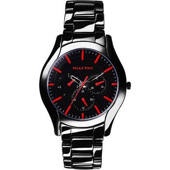 Relax Time 嶄新系列日曆女錶-黑x紅/37mm RT-35-3-9L
