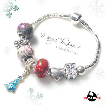 【HEMAKING】潘朵拉黑膽彩繪聖誕愛心手鍊