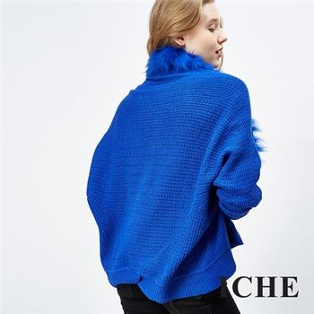 【ICHE 衣哲】羊毛毛領針織斗篷外套 兩色