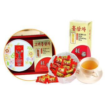 韓國金蔘伴手禮盒組-高麗紅蔘茶包(30入/盒)+紅蔘糖(200g/盒)