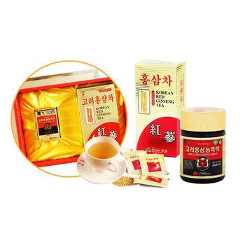 韓國金蔘伴手禮盒組-高麗紅蔘精(50g/罐)+紅蔘茶包(30入/盒)