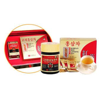韓國金蔘伴手禮盒組-高麗紅蔘精(50g/罐)+紅蔘茶包(50入/盒)