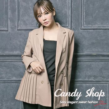 Candy 小鋪     清新學院風雙排扣下擺百摺西裝式外套M/L(灰/卡其)2色-0097851