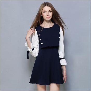 (現貨+預購 RN-girls)-歐美秋冬裝時尚喇叭袖拼接假兩件連身裙