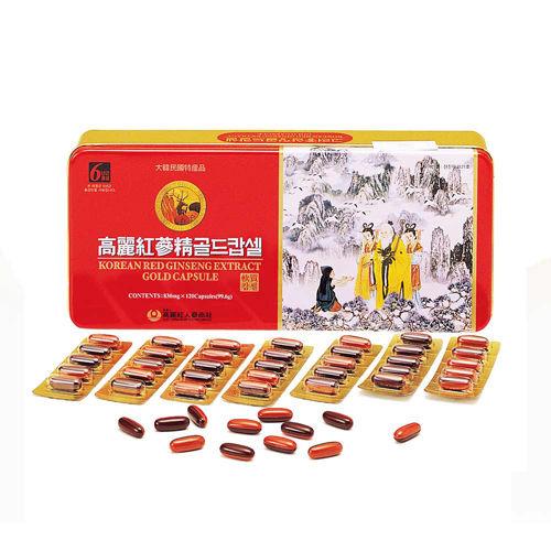 金蔘-6 年根韓國高麗紅蔘鹿茸精膠囊(120顆/盒)加贈蔘芝王3瓶