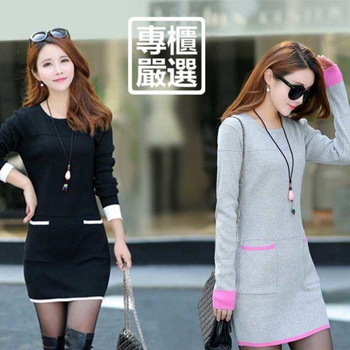 【棉花甜】顯瘦時尚 撞色連身針織洋裝 買一送一激殺組 ( 黑 / 灰 ) 2色選