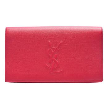 YSL Belle De Jour系列車縫LOGO牛皮釦式手拿晚宴包(桃紅)