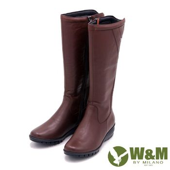 W&M 秋冬時尚素面馬汀靴騎士靴長筒靴 女鞋-棕(另有黑)