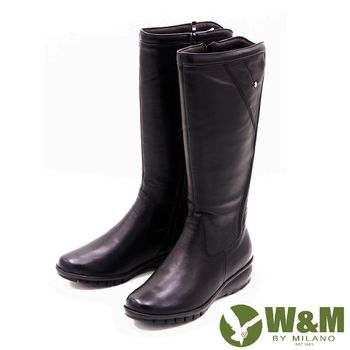 W&M 秋冬時尚素面馬汀靴騎士靴長筒靴 女鞋-黑(另有棕)