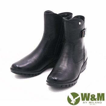 W&M 秋冬時尚素面馬汀靴騎士靴短筒靴 女鞋-黑(另有棕)