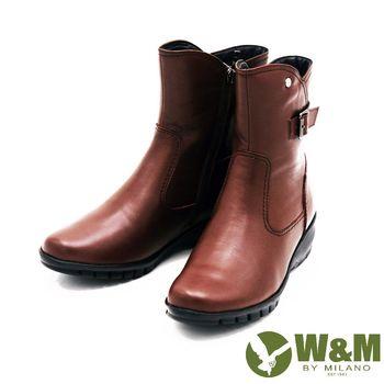 W&M 秋冬時尚素面馬汀靴騎士靴短筒靴 女鞋-棕(另有黑)