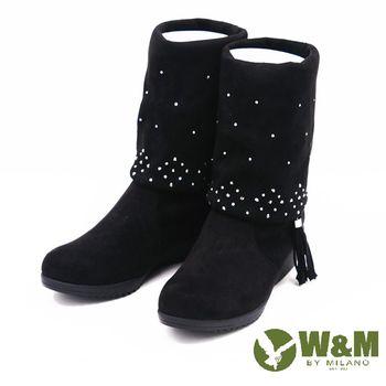 W&M 秋冬绒面水鑽粗跟中筒靴 女鞋-黑(另有灰)